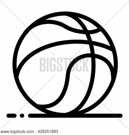Basketball Rubber Ball Icon. Outline Basketball Rubber Ball Vector Icon For Web Design Isolated On W