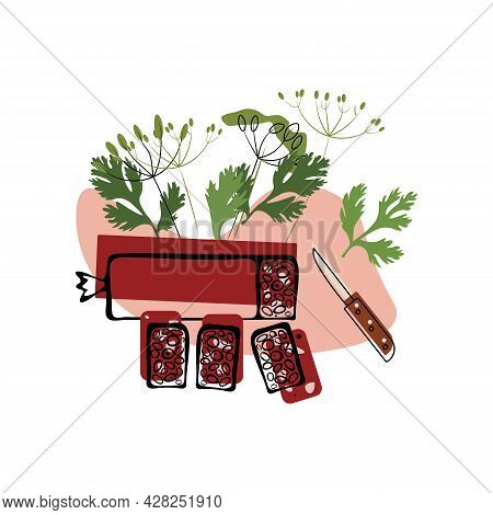 Part And Sliced Salami Sausage With A Knife With Natural Herbs. Salami Day. Manual Drawing Of A Flat