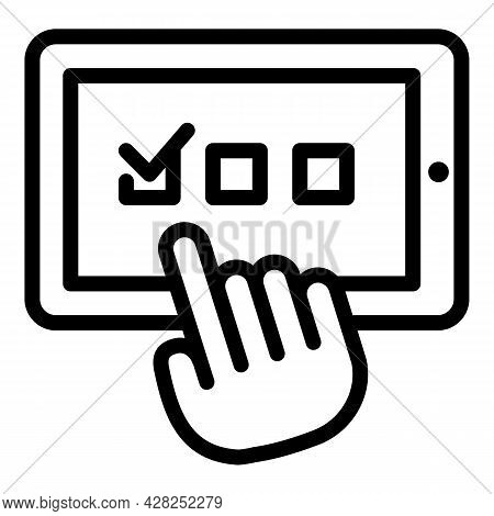 Evaluation Online Vote Icon. Outline Evaluation Online Vote Vector Icon For Web Design Isolated On W
