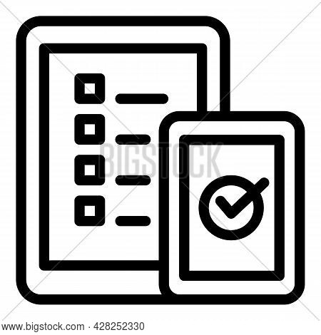 Gadget Online Vote Icon. Outline Gadget Online Vote Vector Icon For Web Design Isolated On White Bac