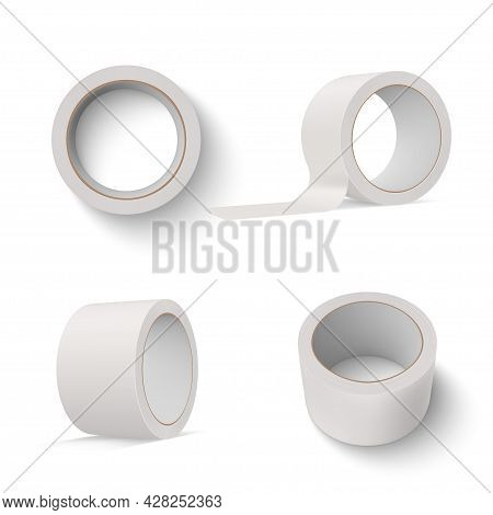 Collection Of Duct Tape Vector Illustration. Set Of Sticky Adhesive Roll For Attaching Or Connecting