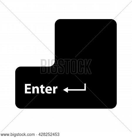 Enter Button On White Background. Enter Sign. Enter Keyboard Key Button. Flat Style.