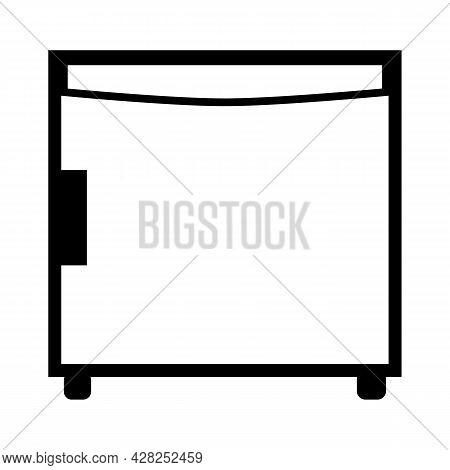 Mini Fridge Icon On White Background. Hotel Mini Fridge Sign. Mini Refrigerator Symbol. Flat Style.