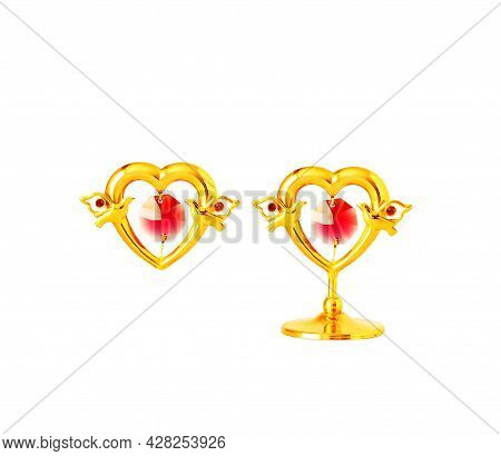 Hearts For Valentine's Day. Figures Of Hearts With Doves. Isolate.