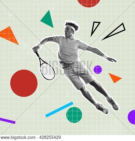 Geometric Shapes And Figures. Modern Art Collage. Surrealism, Minimalism In Artwork. Inspiration, Cr