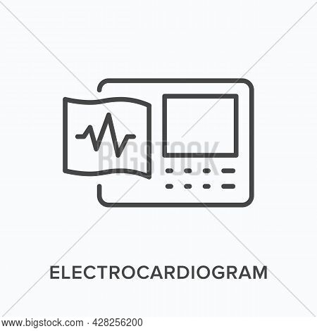 Electrocardiogram Flat Line Icon. Vector Outline Illustration Of Ecg Device. Black Thin Linear Picto