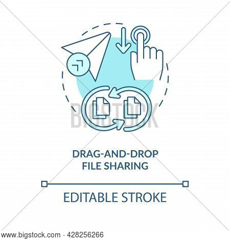 Drag And Drop File Sharing Blue Concept Icon. Digital Data Transformations Service. Messaging Softwa