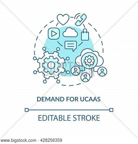 Demand For Ucaas Blue Concept Icon. Unified Communication As Service. Cloud Computing. Messaging Sof