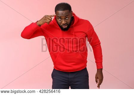 Pissed Serious-looking Bothered African-american Bearded Man Bending Camera Angry Rolling Finger Hea