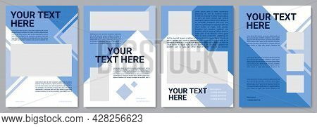 Blue Marketing Brochure Template. Business Info. Flyer, Booklet, Leaflet Print, Cover Design With Co