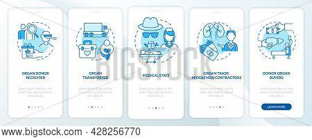 Organ Trafficking Blue Onboarding Mobile App Page Screen. Organ Black Market Walkthrough 5 Steps Gra