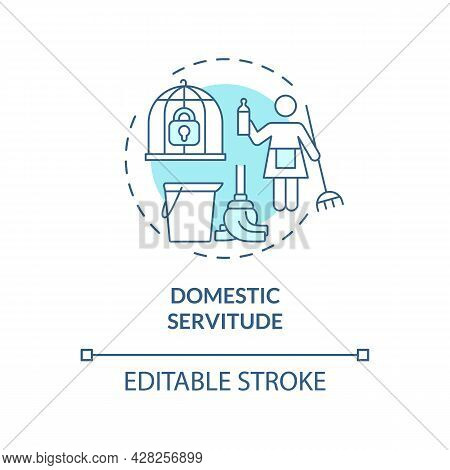 Domestic Servitude Blue Concept Icon. Low Paid House Duties Abstract Idea Thin Line Illustration. Fo
