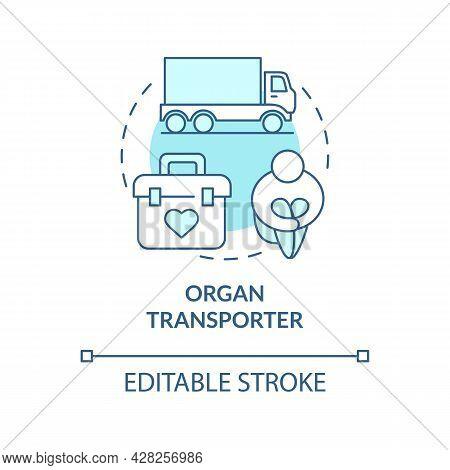 Organ Transporter Blue Concept Icon. International Organ Smuggling Abstract Idea Thin Line Illustrat