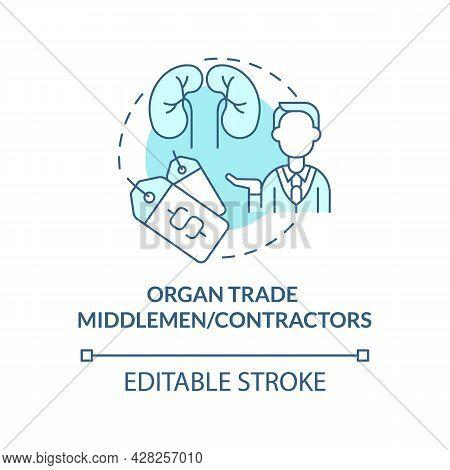 Organ Trade Middlemen, Contractors Blue Concept Icon. Black Market Intermediaries Abstract Idea Thin