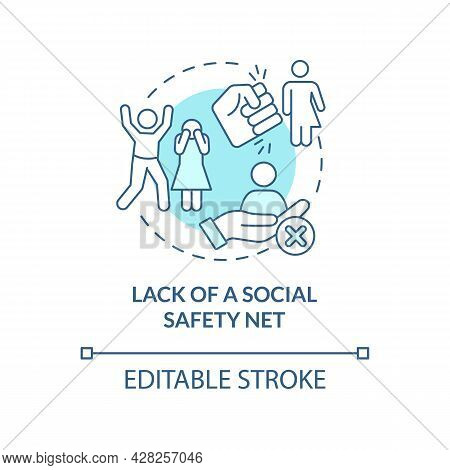 Lack Of Social Safety Net Blue Concept Icon. Reason Of Human Smuggling Abstract Idea Thin Line Illus