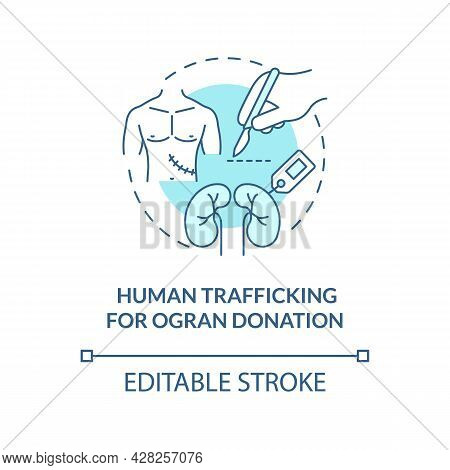 Human Trade For Organ Donation Blue Concept Icon. Abduction Of Human Organs Abstract Idea Thin Line