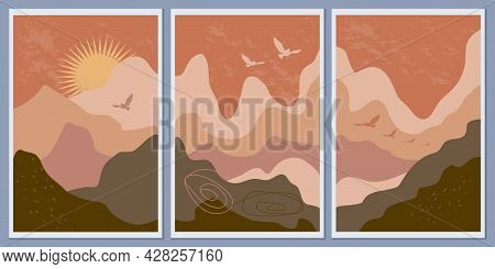 Abstract Mountain Monochrome Landscapes. Wall Art, Minimalism. Sunset And Flying Birds. Terracotta A