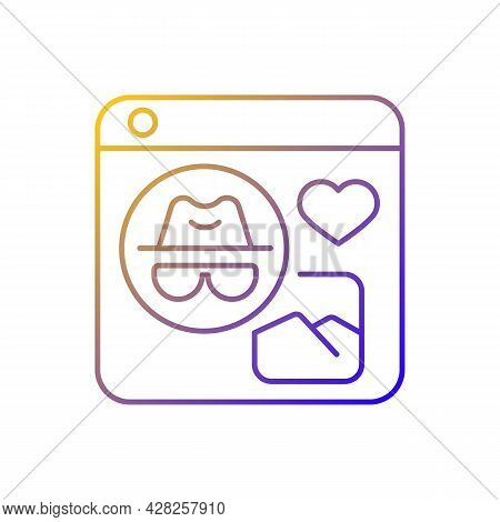 Anonymous Social Media Gradient Linear Vector Icon. Sharing Content And Interacting With People Anon