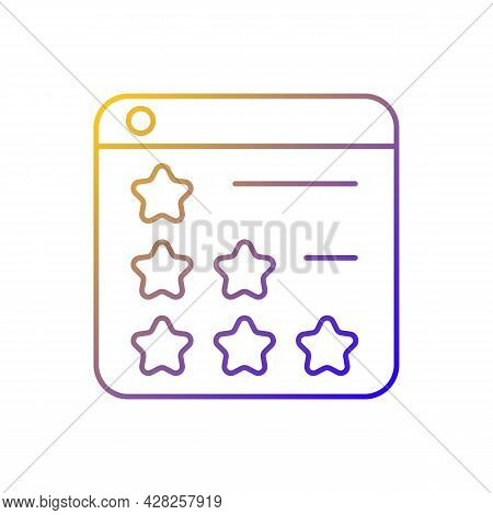 Consumer Review Networks Gradient Linear Vector Icon. Customer Feedbacks For Businesses. Reviewing P