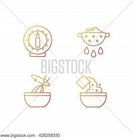 Food Preparation Gradient Linear Vector Icons Set. Kitchen Timer. Drain Excess Water Or Oil. Cooking