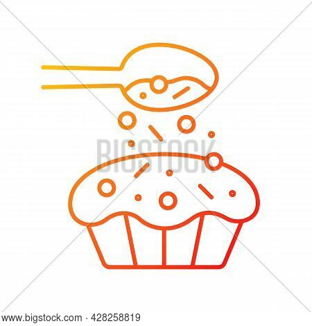 Sprinkle For Baking Gradient Linear Vector Icon. Pouring Topping From Spoon On Cupcake. Dessert Reci