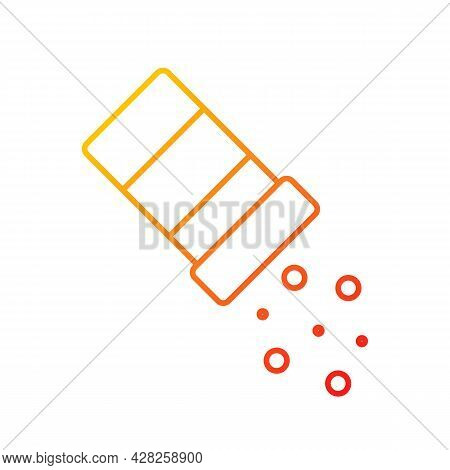 Sprinkle Salt Gradient Linear Vector Icon. Seasoning Dish With Pepper. Pouring Condiment. Food Prepa