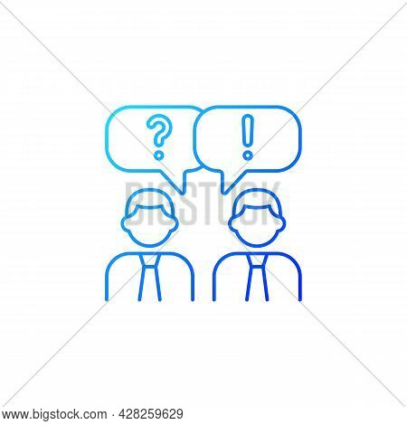 Communication Gradient Linear Vector Icon. People Talking. Verbal And Nonverbal Communication. Group