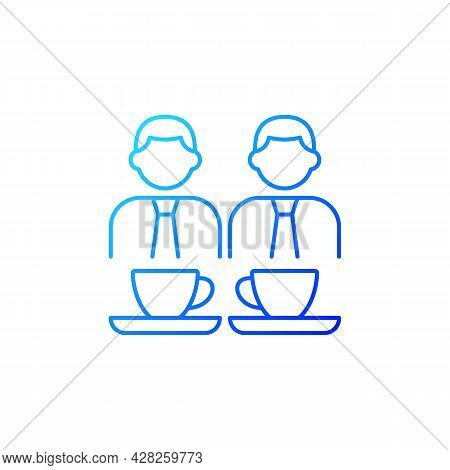 Common Breaks Gradient Linear Vector Icon. Coworking During Coffee Break. Office Discussion During S