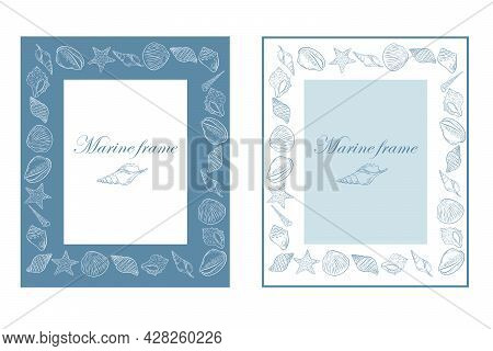 Set Of Rectangular Marine Frames With Seashells, Vector Illustration. Underwater Marine Life Outline