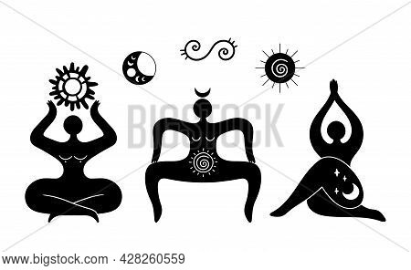 Mystical Celestial And Solar Goddess Isolated Cliparts Bundle, Mystical Wiccan Woman Silhouette, Fem