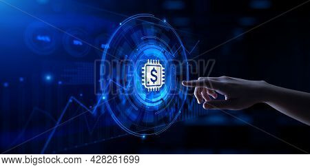 Fintech Financial Technology Online Banking. Hand Pressing Virtual Button