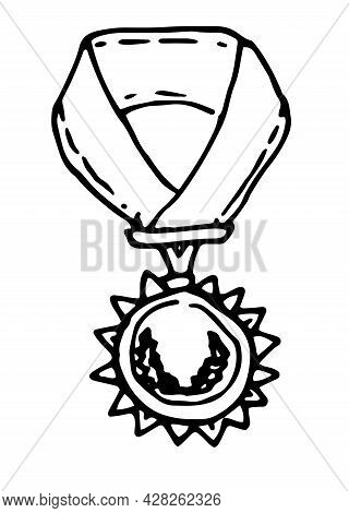 Vector Medal On A Ribbon, With A Wreath . Hand-drawn Victory Sign In Doodle Style, The Order On The