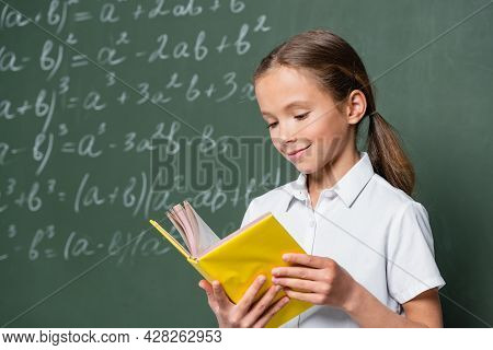 Pleased Schoolkid Reading Book Near Blurred Equations On Chalkboard