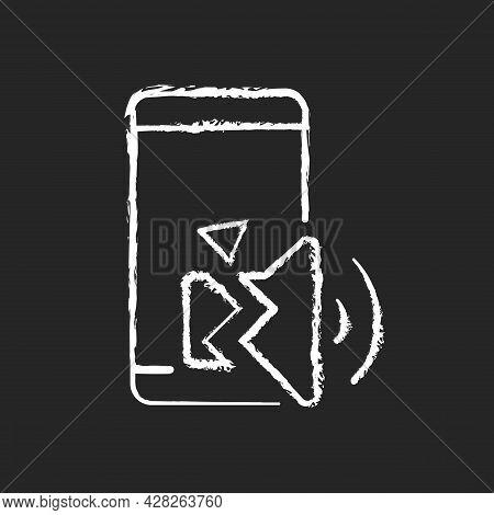 Speaker Not Working Chalk White Icon On Dark Background. Internal And External Speaker Issue Reasons