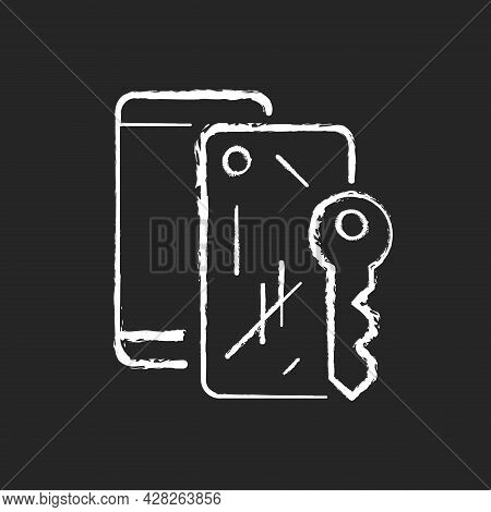 Scratched Housing Chalk White Icon On Dark Background. Damaged Mobile Phone Case And Housing. Defect
