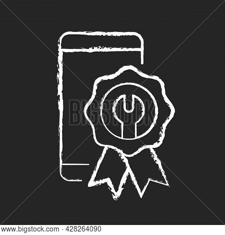 Certified Repairs Chalk White Icon On Dark Background. Smartphone Authorized Renovate. Official Serv