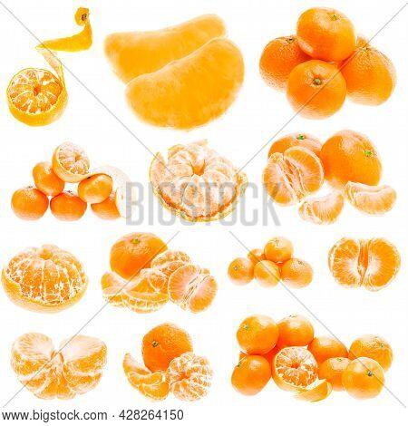 Fresh Mandarin Citrus Isolated Tangerine Mandarine Orange In Heap On White Background. Healthy Food