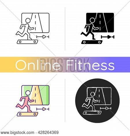 Online Fitness Jogging Icon. Running And Travelling In Virtual Reality. Race Experiment. Treadmill A