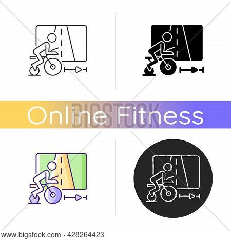 Virtual Cycling App Icon. Online Fitness Rally Sport. Racing Competition. Indoor Traveling. Smart Tr