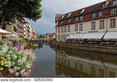 Strasbourg, France, June 23, 2021 : At Petite France, River Ill Splits Up Into Number Of Channels, H