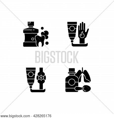 Medical Treatment Options Black Glyph Icons Set On White Space. Mouthwash For Oral Health. Antibacte
