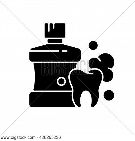 Mouthwash For Teeth Health Black Glyph Icon. Oral Rinse. Fighting Plaque Buildup. Preventing Teeth D