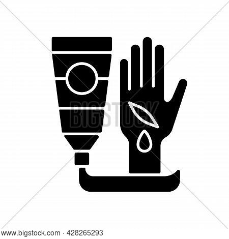 Healing Ointment For Cuts Black Glyph Icon. Preventing Wound Infection. Fast Healing. Minimizing Sca