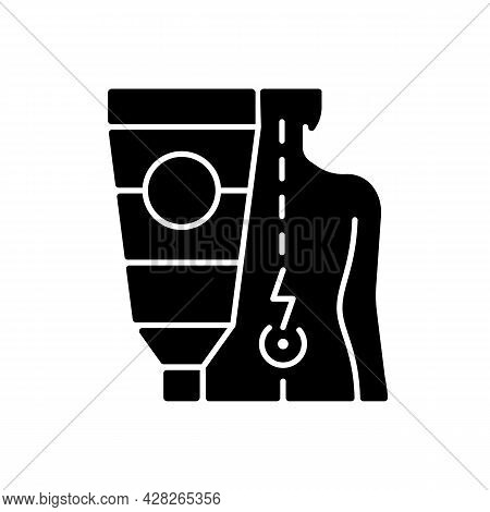 Ointment For Back Pain Black Glyph Icon. Burning, Shooting Pain Relieving. Soothing Sensation. Reduc