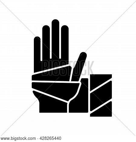 Medical Bandage Black Glyph Icon. Bandaged Hand. Sterile Wound Dressing. Stop Bleeding. Medical Gauz