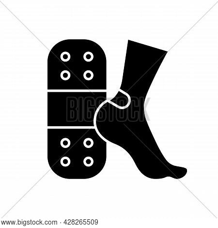 Patches For Blisters Black Glyph Icon. Skin Protection From Friction. Applying Plaster. Self-help Op