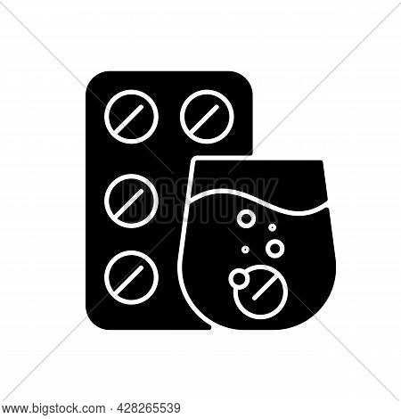 Effervescent Tablet For Cold Relief Black Glyph Icon. Cough-and-cold Medication. Dissolve In Liquid.