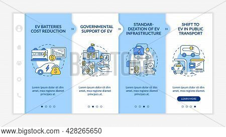Ev Infrastructure Onboarding Vector Template. Responsive Mobile Website With Icons. Web Page Walkthr