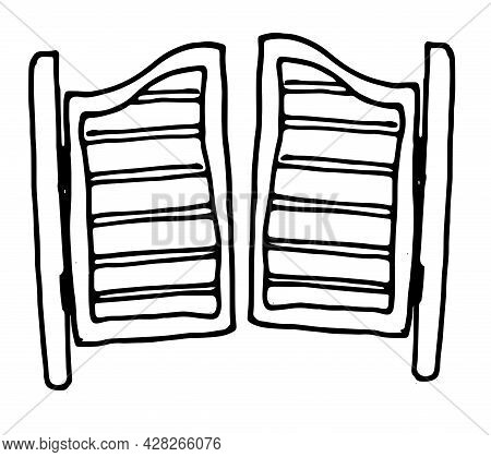 Vector Vintage Wooden Interior Door Element. Closed Interior Doors Made Of Wood In The Style Of A Sk