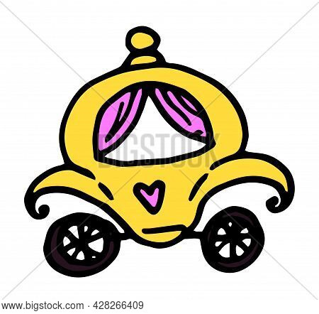 Vector Princess Carriage. Hand-drawn Fairy-tale Golden Carriage In Cartoon Style With Pink Curtains